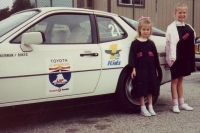 Porsche 924S at start of 1990 One Lap of America with Anna and M'lissa