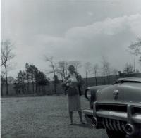 1953 Mercury and my mom.